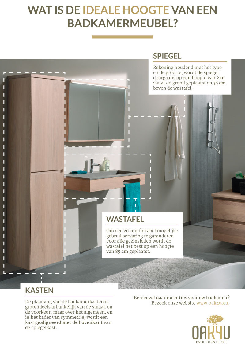 Wat is de ideale hoogte van een badkamermeubel?
